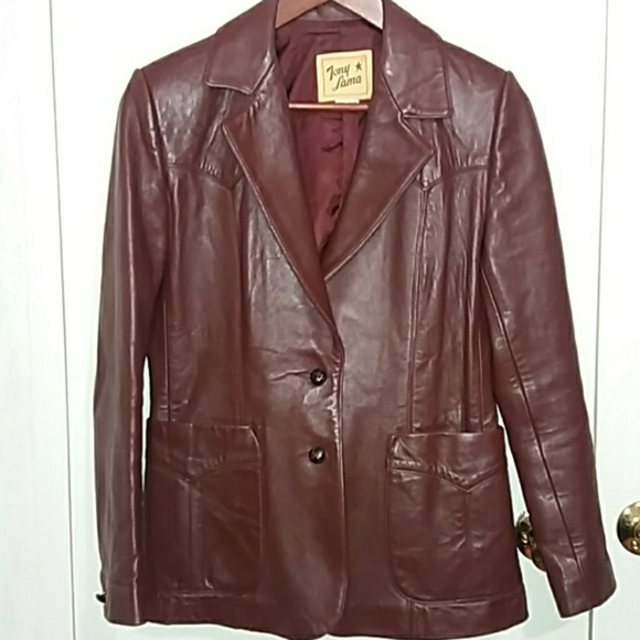 Tony Lama Jackets & Blazers - Vintage Tony Lama wine/burgundy leather jacket